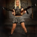 Fighting girl with guns