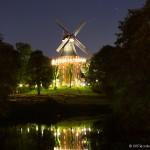 Herdentorswallmühle in Bremen bei Nacht